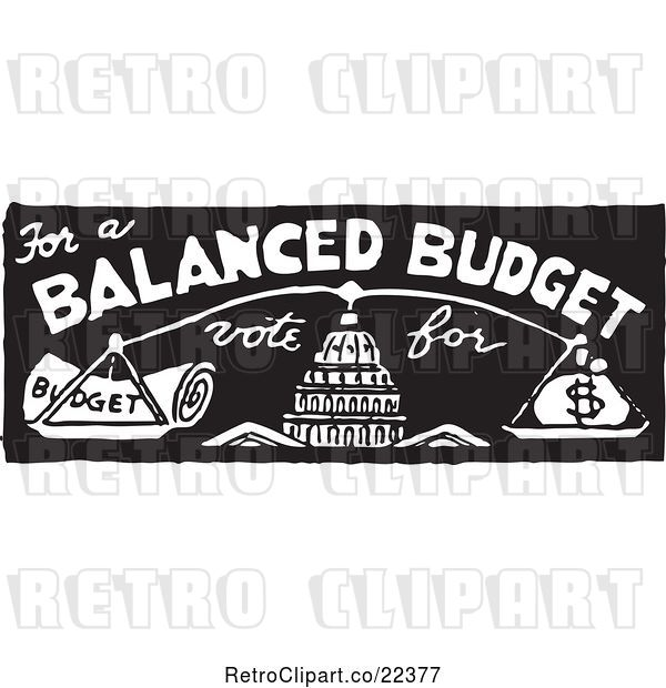 Vector Clip Art of Retro Vote for a Balanced Budget with Scales