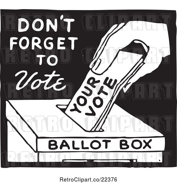 Vector Clip Art of Retro Voter Putting a Ballot in a Box with Dont Forget to Vote Text