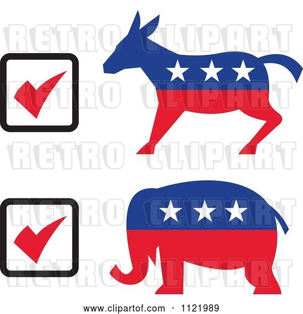 Vector Clip Art of Retro Voting Check Boxes with Republican Elephant and Democratic Donkey