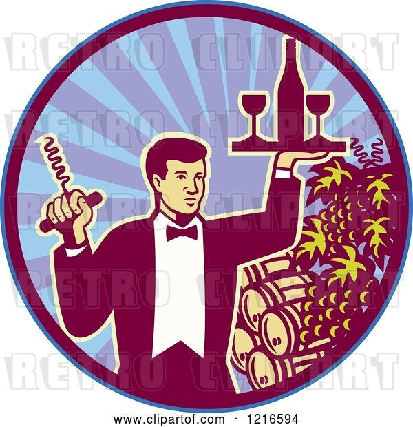 Vector Clip Art of Retro Waiter Guy Holding a Corkscrew and Wine Tray over Barrels in a Circle