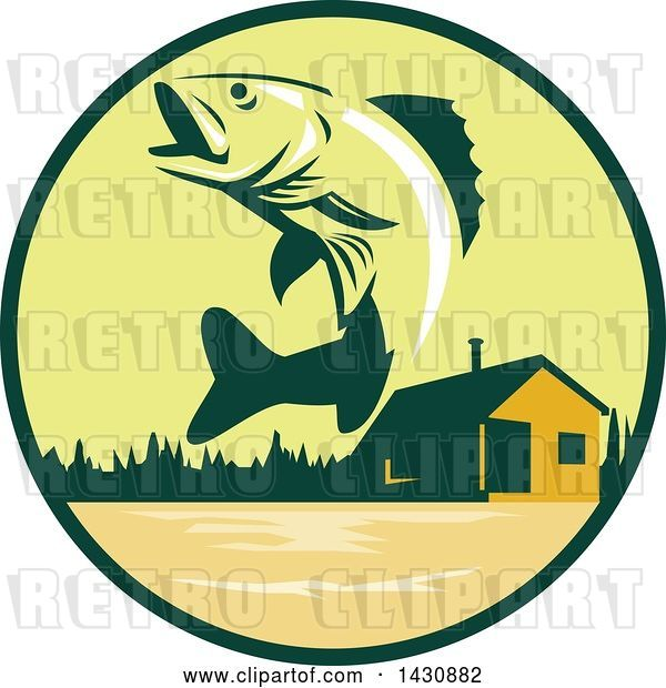 Vector Clip Art of Retro Walleye Fish Jumping in Front of a Lake Cabin in a Green and Orange Circle