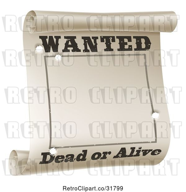 Vector Clip Art of Retro Wanted Dead or Alive Poster with Bullet Holes