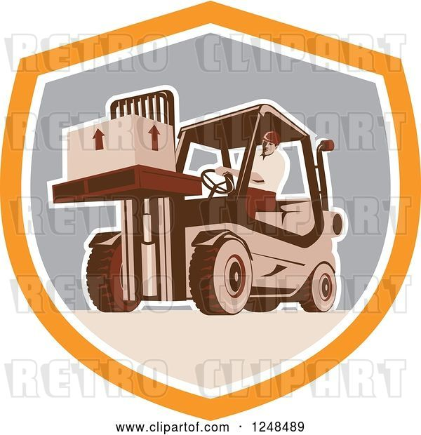 Vector Clip Art of Retro Warehouse Worker Moving a Crate on a Forklift in a Shield