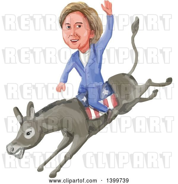 Vector Clip Art of Retro Watercolor Caricature of Hillary Clinton Riding a Democratic Donkey