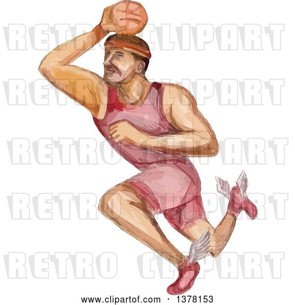 Vector Clip Art of Retro Watercolor Caricature Styled Basketball Player Dunking