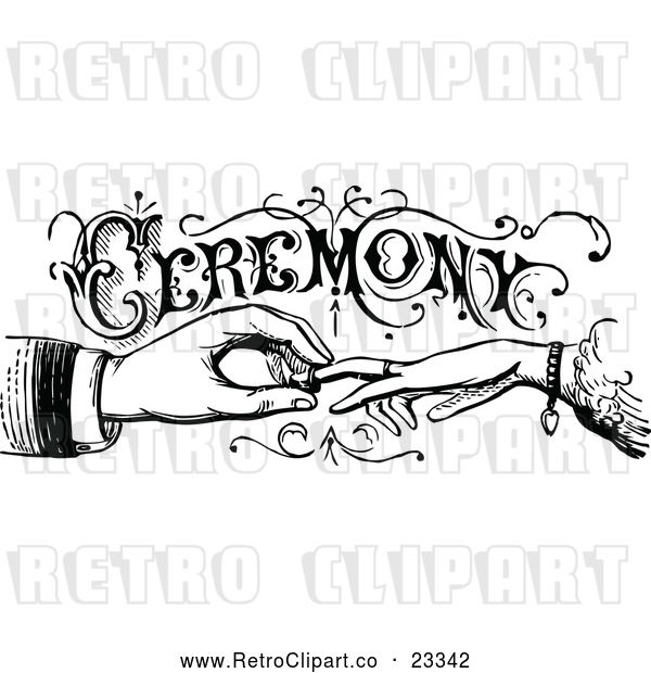 Vector Clip Art of Retro Wedding Ceremony Sign with Hands Exchanging Rings