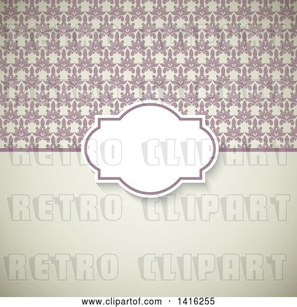 Vector Clip Art of Retro Wedding Invitation Background with a Frame over Floral and Solid Sections