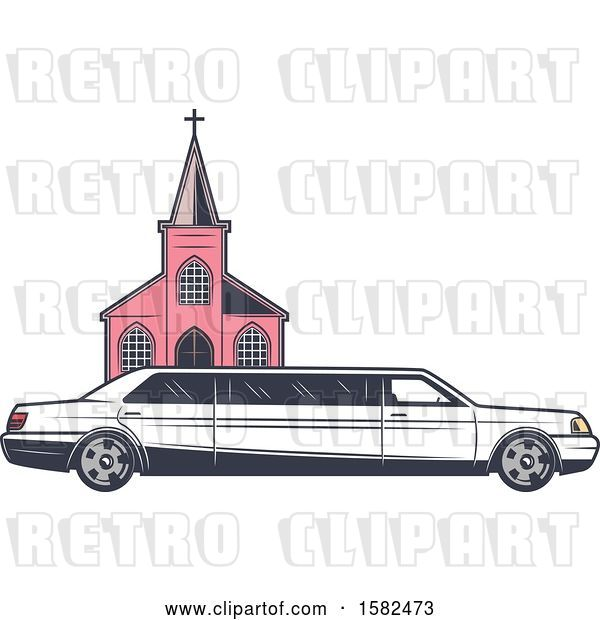 Vector Clip Art of Retro Wedding Limo Parked by a Church