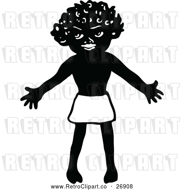Vector Clip Art of Retro Welcoming African Boy