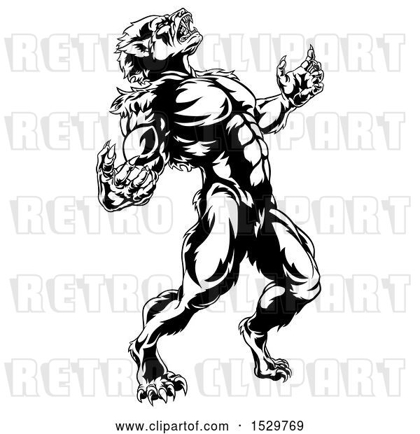 Vector Clip Art of Retro Werewolf Beast Howling and Transforming