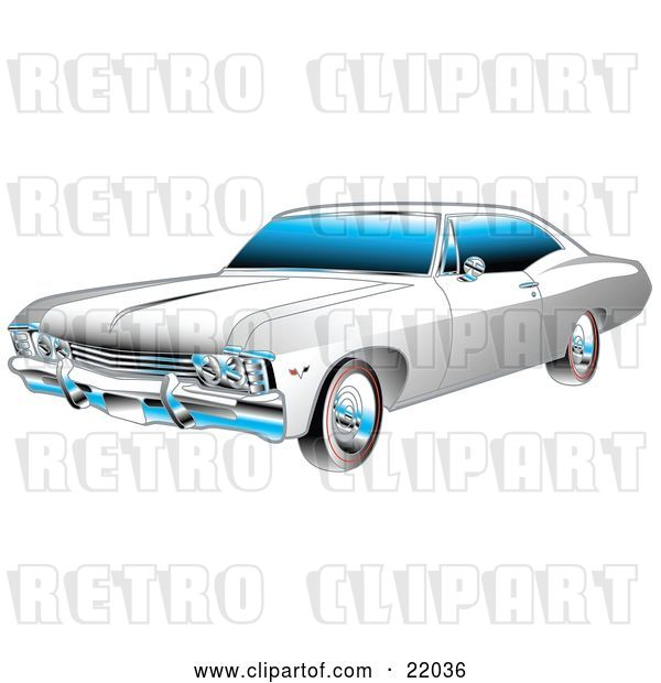 Vector Clip Art of Retro White and Chrome 1967 Chevrolet Ss Impala Muscle Car