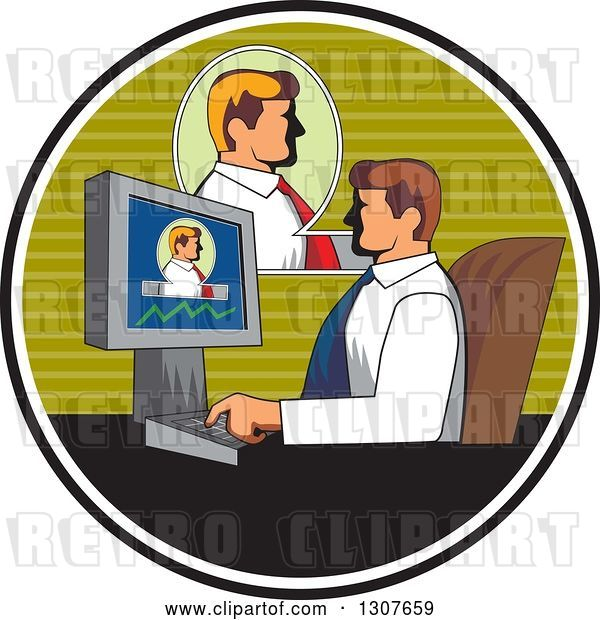 Vector Clip Art of Retro White Business Man Having a Video Conference at Work, Inside a Circle