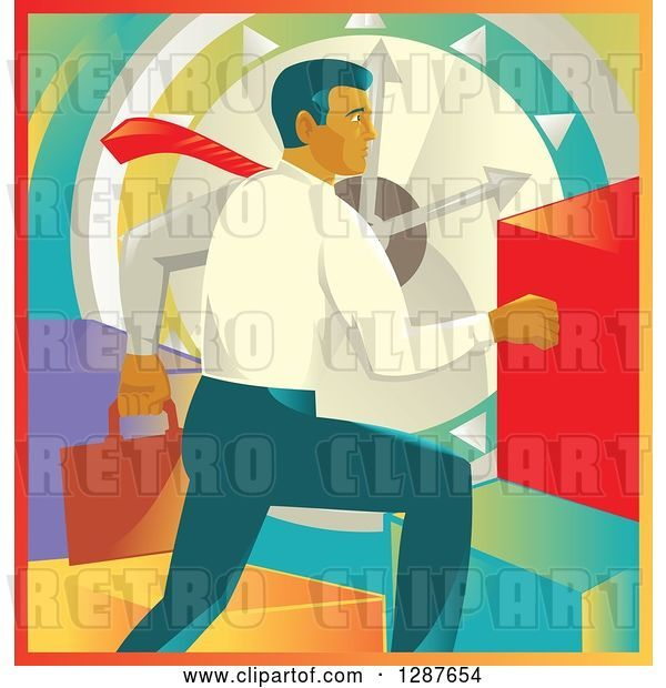 Vector Clip Art of Retro White Business Man Running over a Clock and Colorful Graph Bars