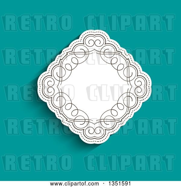 Vector Clip Art of Retro White Diamond with Swirls over Turquoise