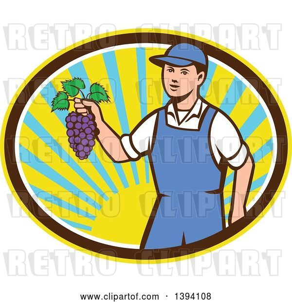 Vector Clip Art of Retro White Farmer Boy Holding Purple Grapes in a Sunny Oval