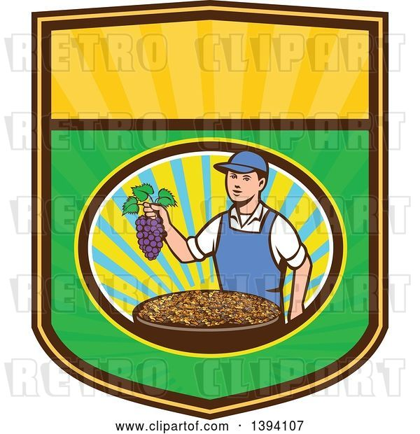 Vector Clip Art of Retro White Farmer Boy Holding Purple Grapes over a Bowl of Raisins in a Sunny Oval on a Shield