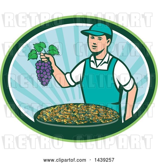 Vector Clip Art of Retro White Farmer Boy Holding Purple Grapes over a Bowl of Raisins in an Oval