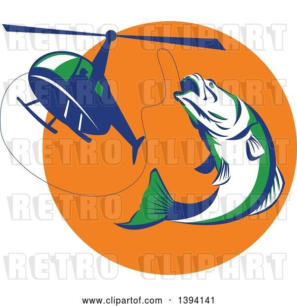 Vector Clip Art of Retro White Green and Blue Barramundi Asian Sea Bass Fish Jumping and Swallowing a Fishing Line Attached to a Helicopter