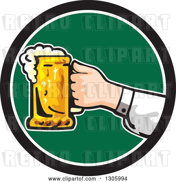 Vector Clip Art of Retro White Hand Holding out a Frothy Beer Mug in a Black White and Green Circle