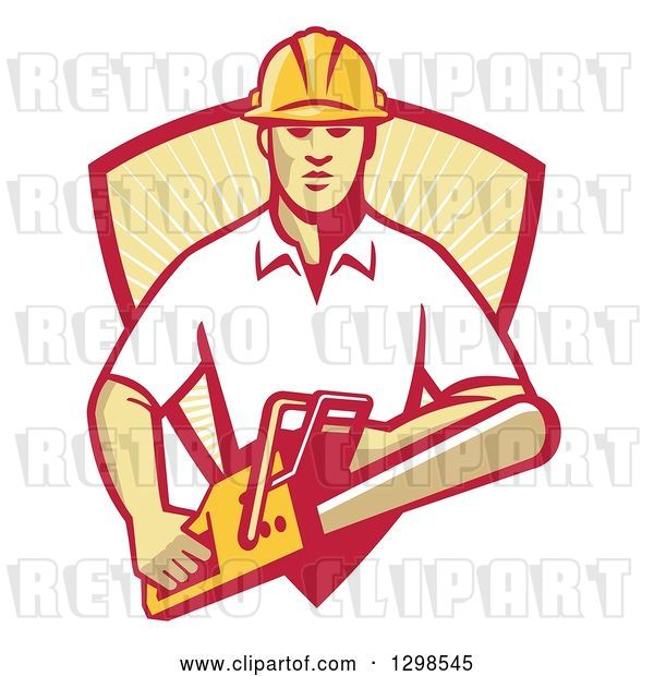Vector Clip Art of Retro White Male Arborist Using a Chainsaw and Emerging from a Red and Yellow Sunshine Shield