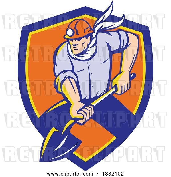 Vector Clip Art of Retro White Male Coal Miner Digging with a Spade Shovel, with Light Shining from His Helmet, in a Blue Yellow and Orange Shield