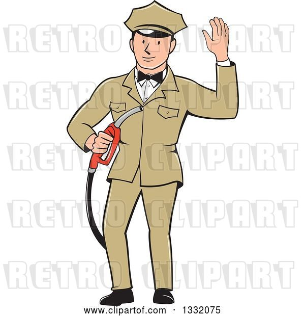 Vector Clip Art of Retro White Male Gas Station Attendant Jockey Holding a Nozzle and Waving