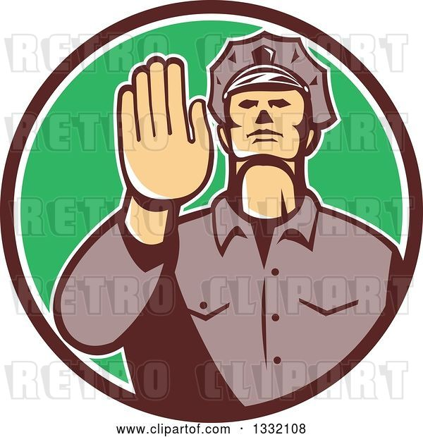 Vector Clip Art of Retro White Male Police Officer Gesturing Stop with His Hand Inside a Brown White and Green Circle