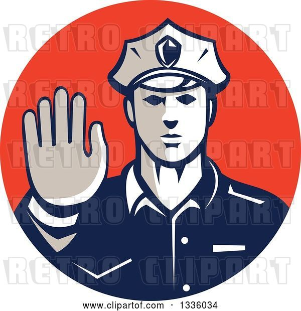 Vector Clip Art of Retro White Male Police Officer Gesturing Stop with His Hand Inside a Red Circle