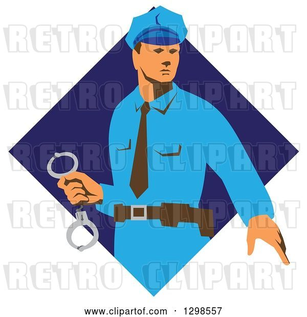 Vector Clip Art of Retro White Male Police Officer Holding Cuffs in a Blue Diamond