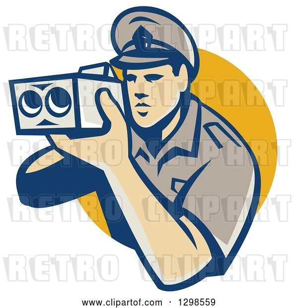 Vector Clip Art of Retro White Male Police Officer Using a Speed Radar Camara and Emerging from a Yellow Circle