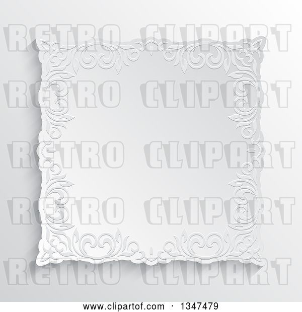 Vector Clip Art of Retro White Ornate Embossed Floral Frame over Shading