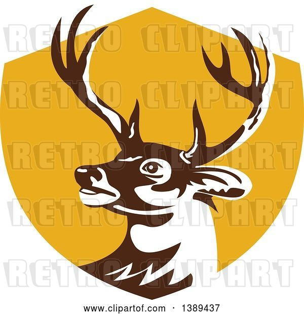 Vector Clip Art of Retro Whitetail Deer Buck Head in a Yellow Shield