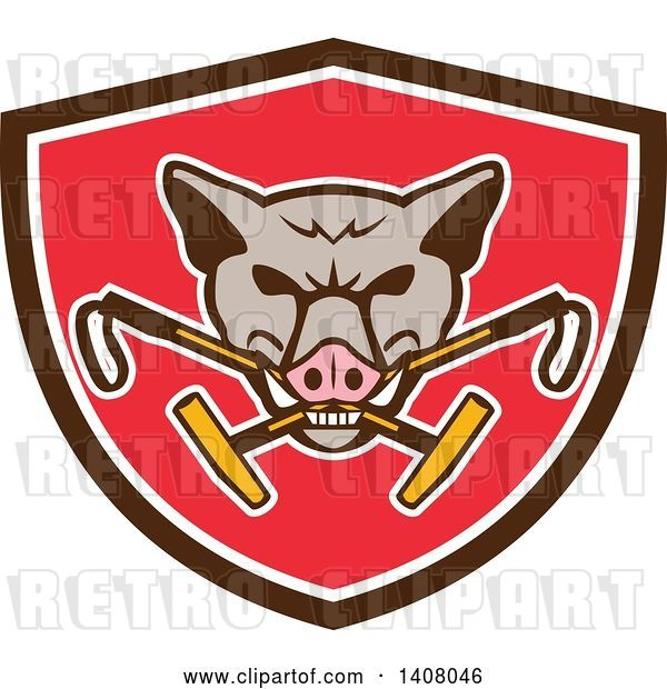 Vector Clip Art of Retro Wild Hog Boar Head Biting Crossed Polo Mallets in a Brown White and Red Shield