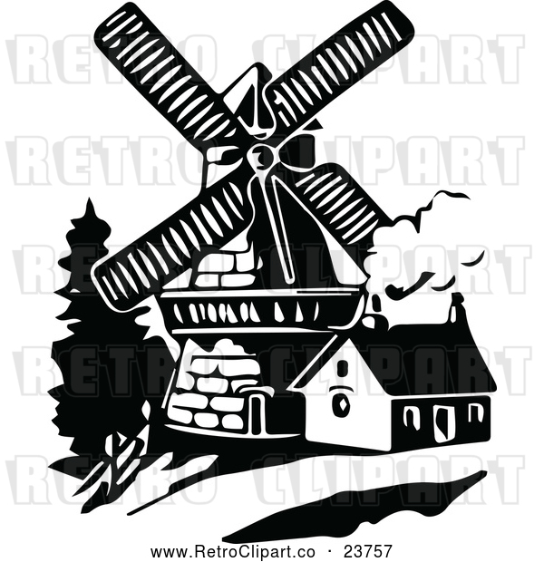Vector Clip Art of Retro Windmill and House