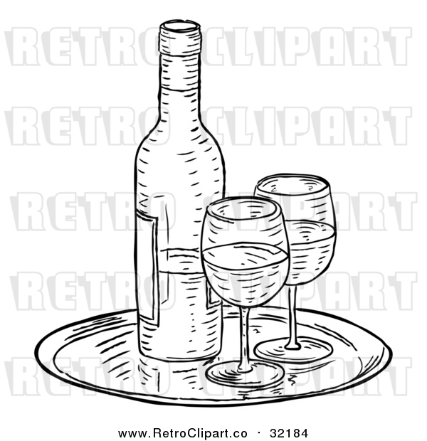 Vector Clip Art of Retro Wine Bottle and Glasses