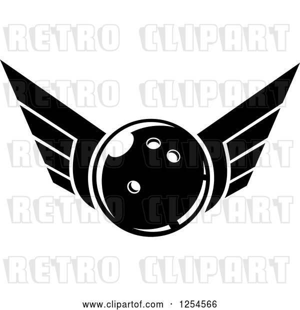 Vector Clip Art of Retro Winged Bowling Ball