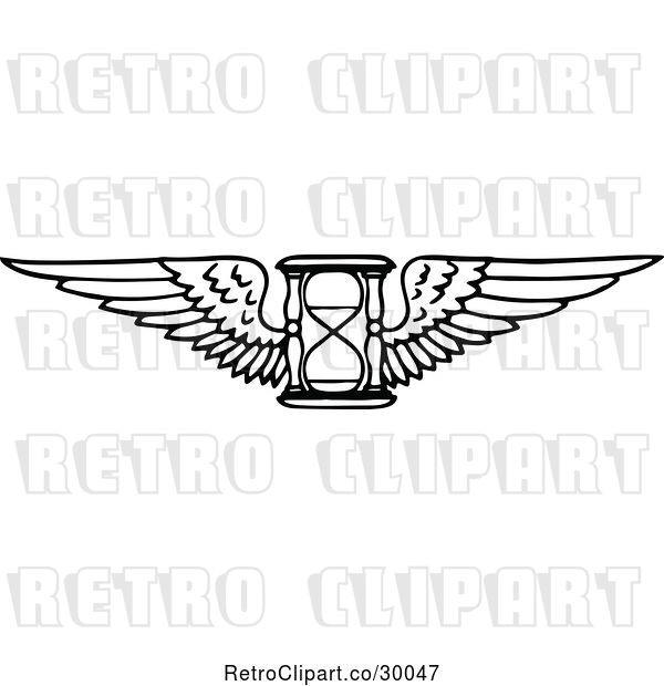 Vector Clip Art of Retro Winged Hourglass