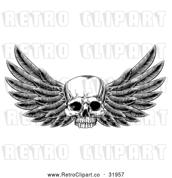Vector Clip Art of Retro Winged Human Skull