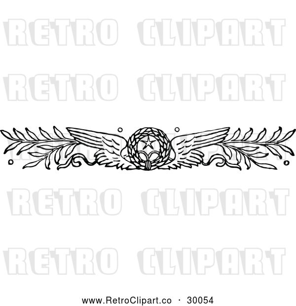 Vector Clip Art of Retro Winged Wreath and Branches