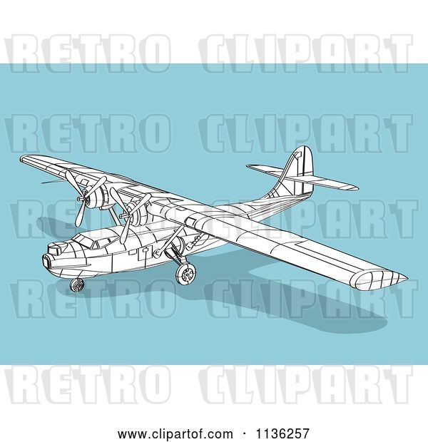 Vector Clip Art of Retro Wireframe Catalina Airplane on Blue