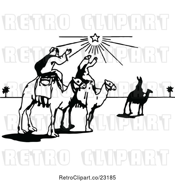 Vector Clip Art of Retro Wise Men on Camels Under the North Star