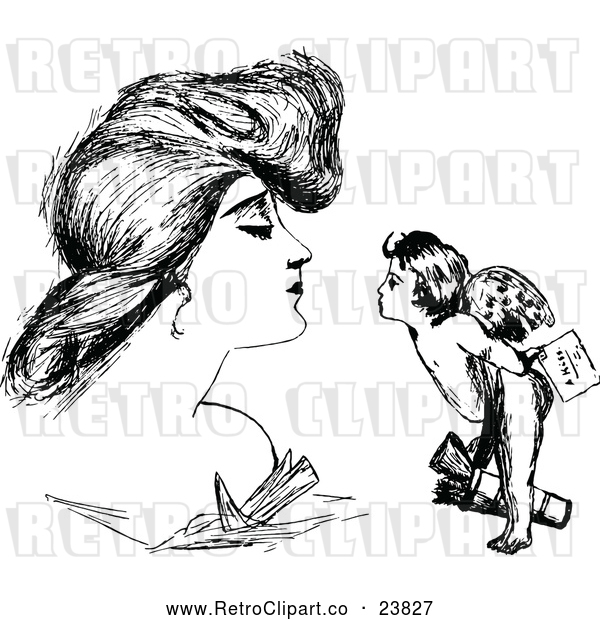 Vector Clip Art of Retro Woman and Cupid