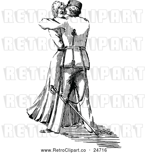 : Vector Clip Art of Retro Woman and Soldier Kissing