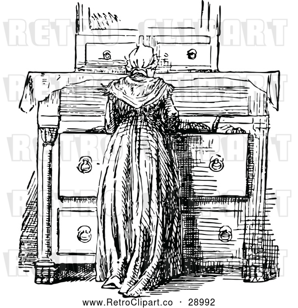 Vector Clip Art of Retro Woman at a Dresser
