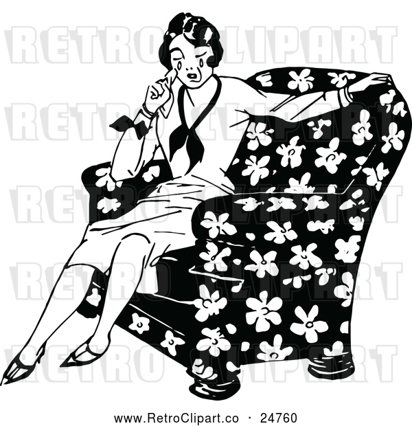 Vector Clip Art of Retro Woman Crying in a Chair