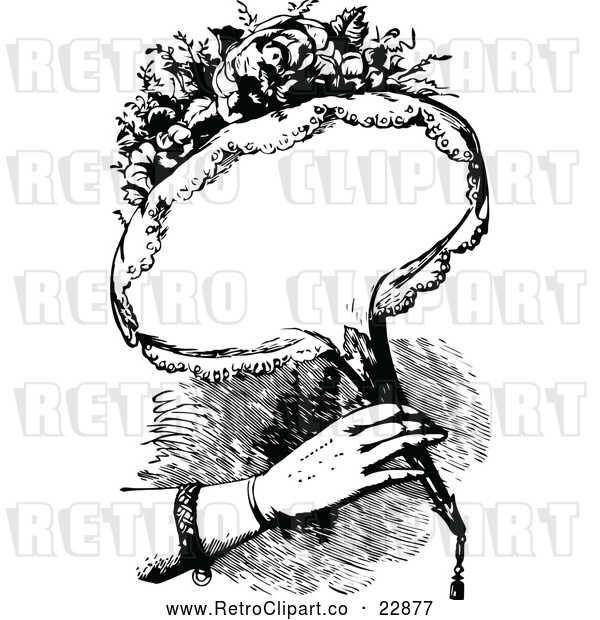 Vector Clip Art of Retro Woman Holding a Bouquet of Flowers with Copyspace