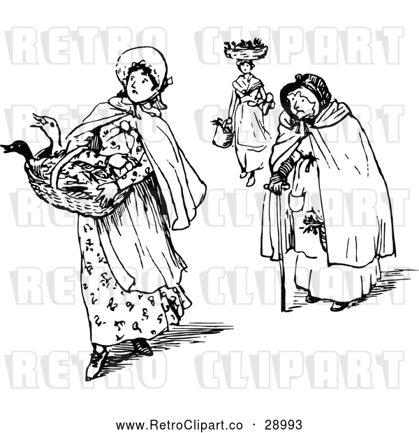 Vector Clip Art of Retro Women with Market Baskets