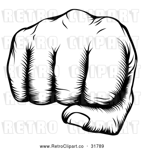 Vector Clip Art of Retro Woodblock Fist