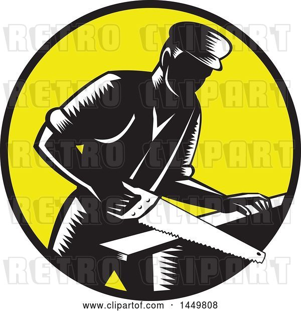 Vector Clip Art of Retro Woodcut 19th Century Carpenter Sawing Wood in a Yellow Circle