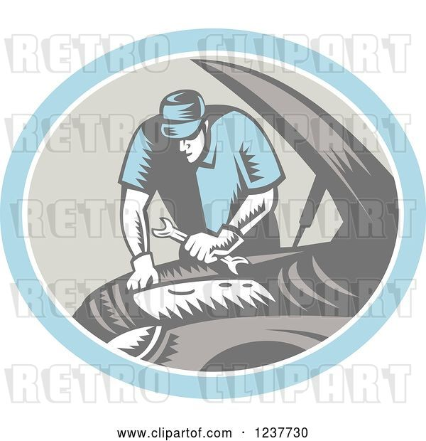 Vector Clip Art of Retro Woodcut Auto Mechanic Working on an Engine